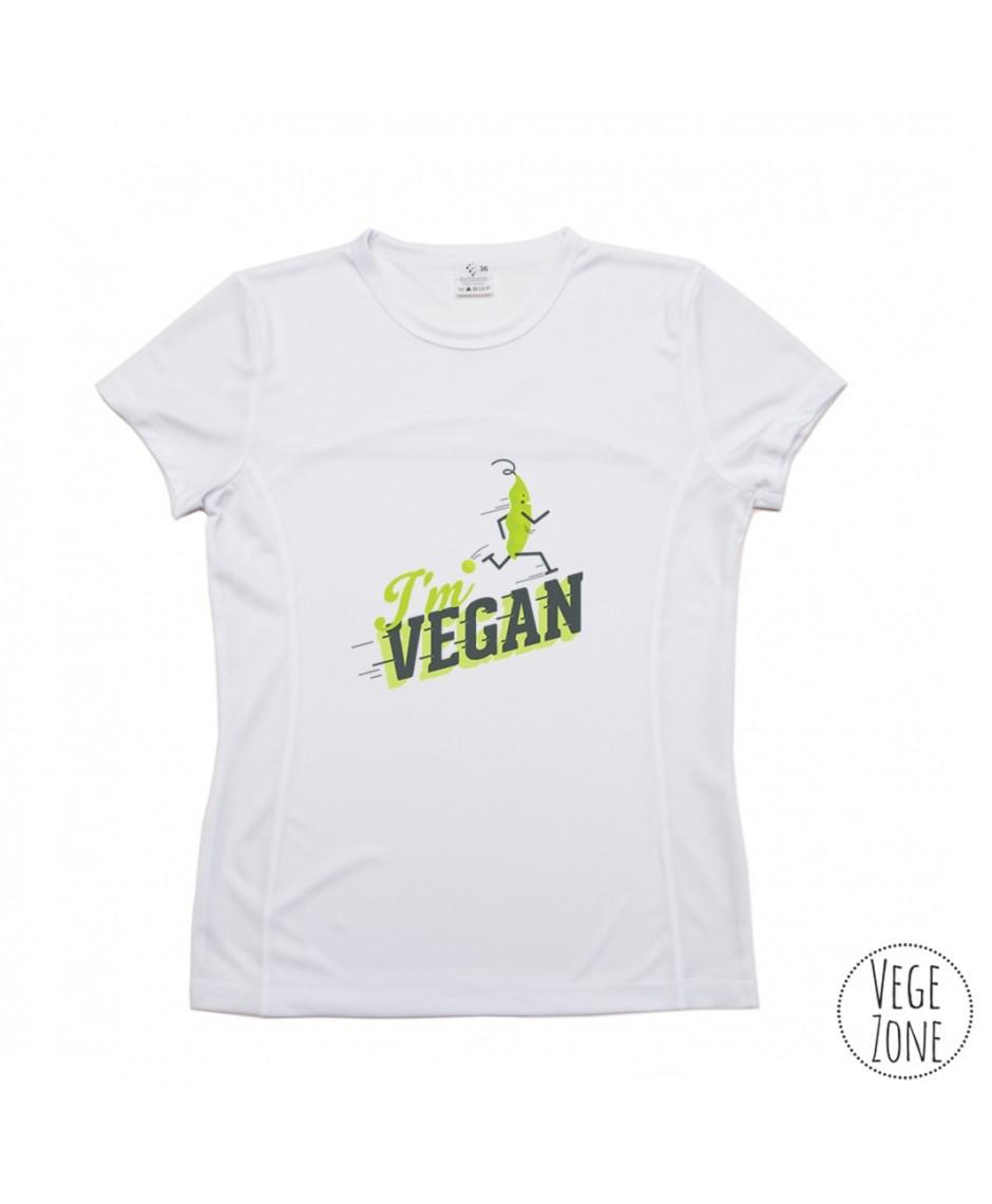 TRENINGOWA damska koszulka - I'm vegan, follow me (z groszkiem) - PRODUKT POLSKI