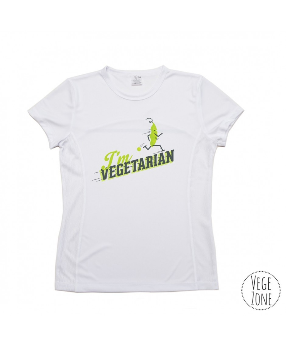 TRENINGOWA damska koszulka - I'm vegetarian, follow me (with a pea) - PRODUKT POLSKI