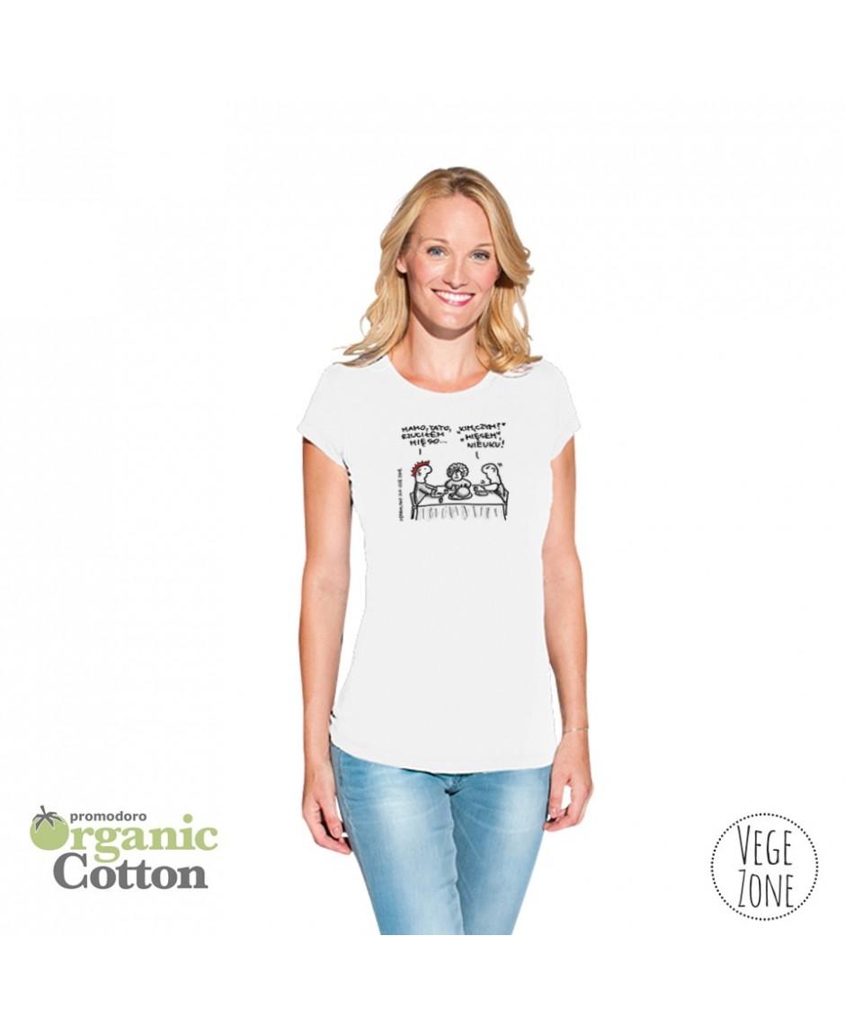 Koszulka damska biała Organic -T Fashion - Mamo, Tato - Promodoro