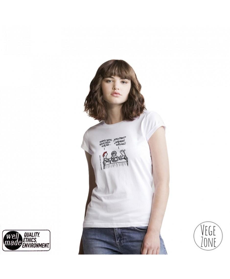 Koszulka damska organiczna biała, rolowane rękawy - Mamo,Tato - Roll Sleeve T Mantis