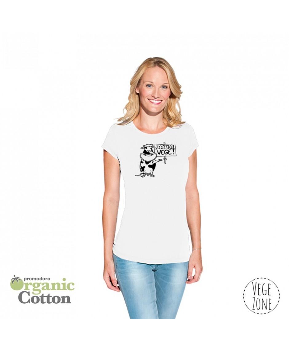 Koszulka damska biała - Zostań VEGE! - Organic - T Fashion - Promodoro