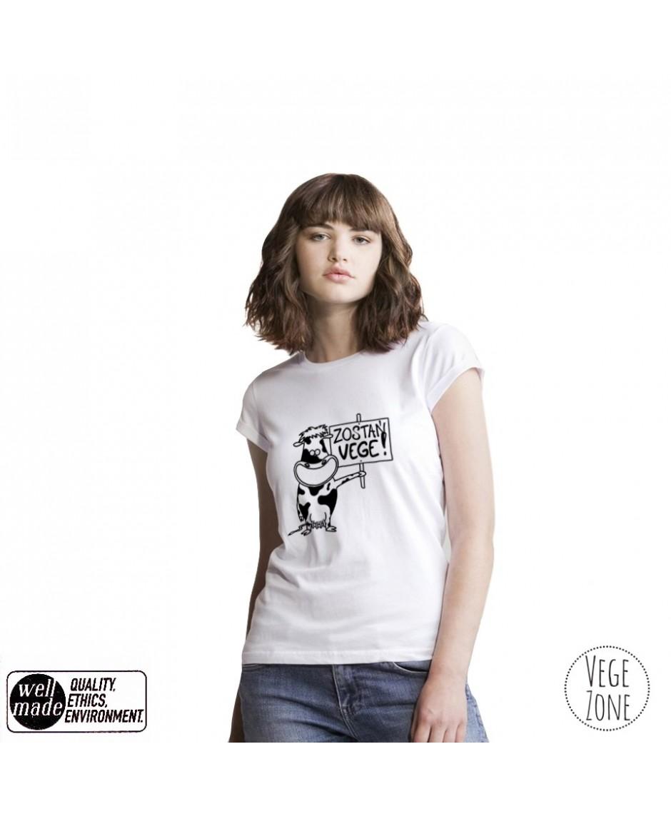 Koszulka damska organiczna biała, rolowane rękawy - Zostań VEGE! - Roll Sleeve T - Mantis