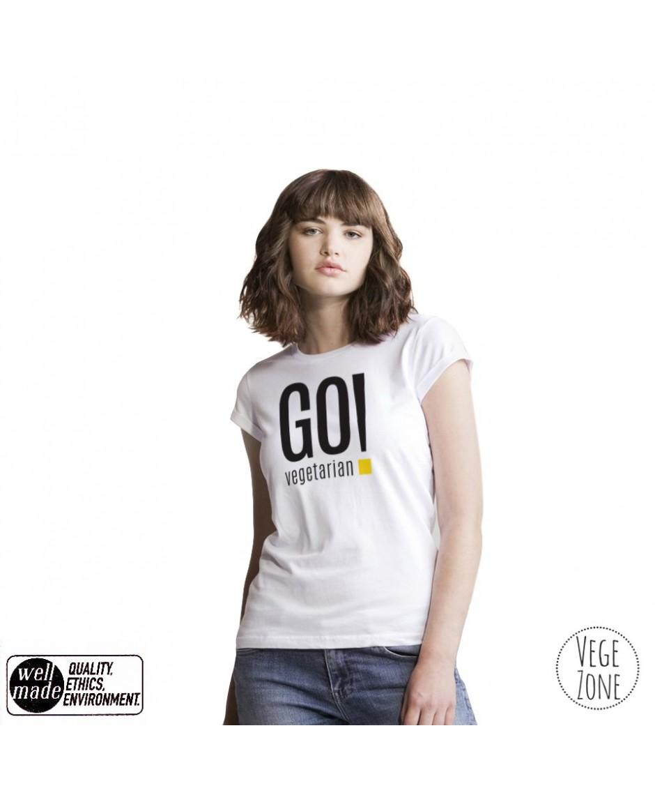 Koszulka damska organiczna biała, rolowane rękawy - Go Vegetarian! - Roll Sleeve T Mantis