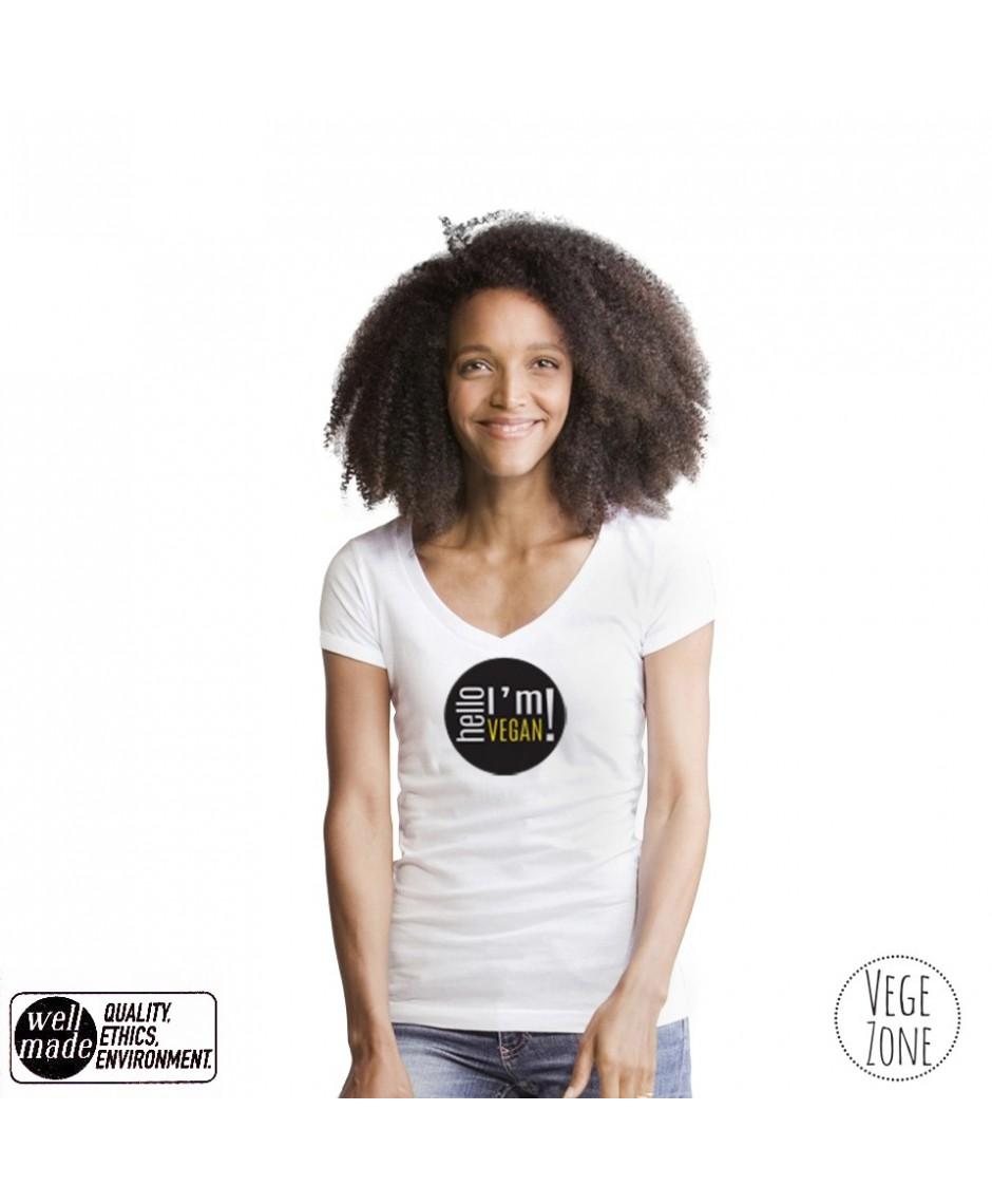 Koszulka damska biała, dekolt w szpic - Hello, I'm Vegan! - V-neck Mantis