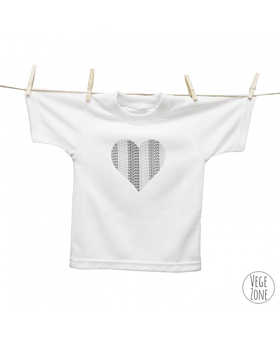 Koszulka dziecięca organiczna biała - Vegan Heart  - SOL'S