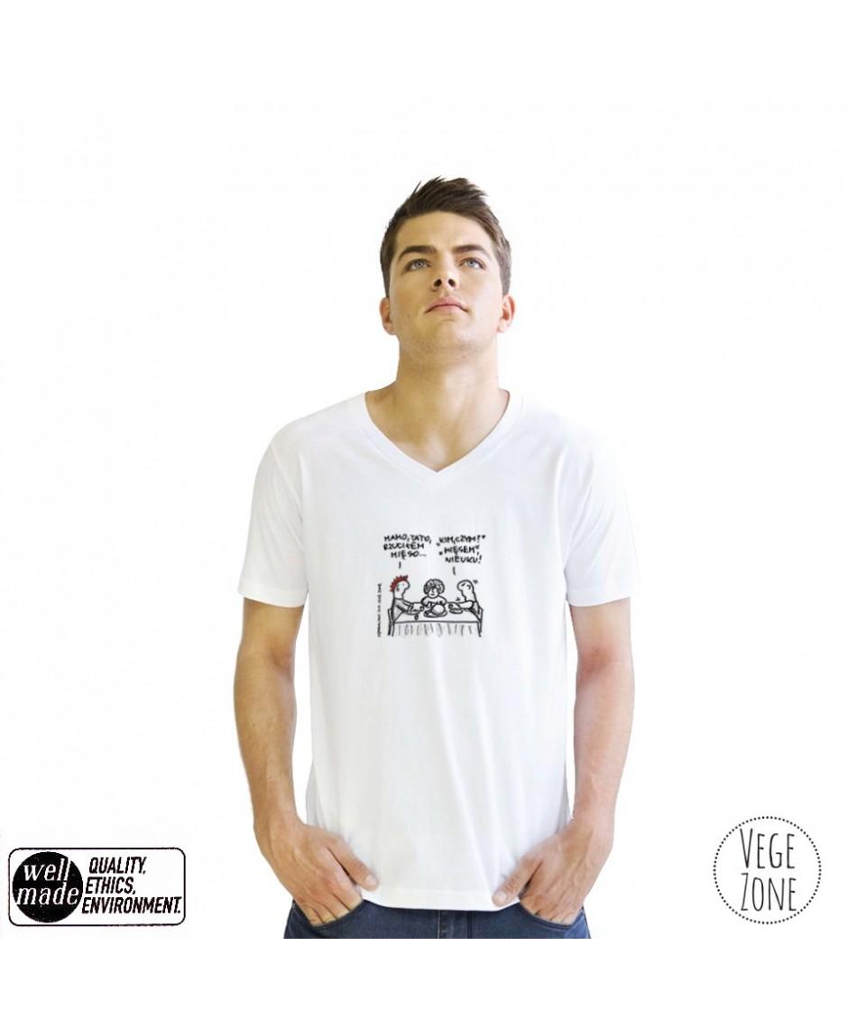 Koszulka męska biała, dekolt w szpic - Mamo, tato - V-neck - Mantis
