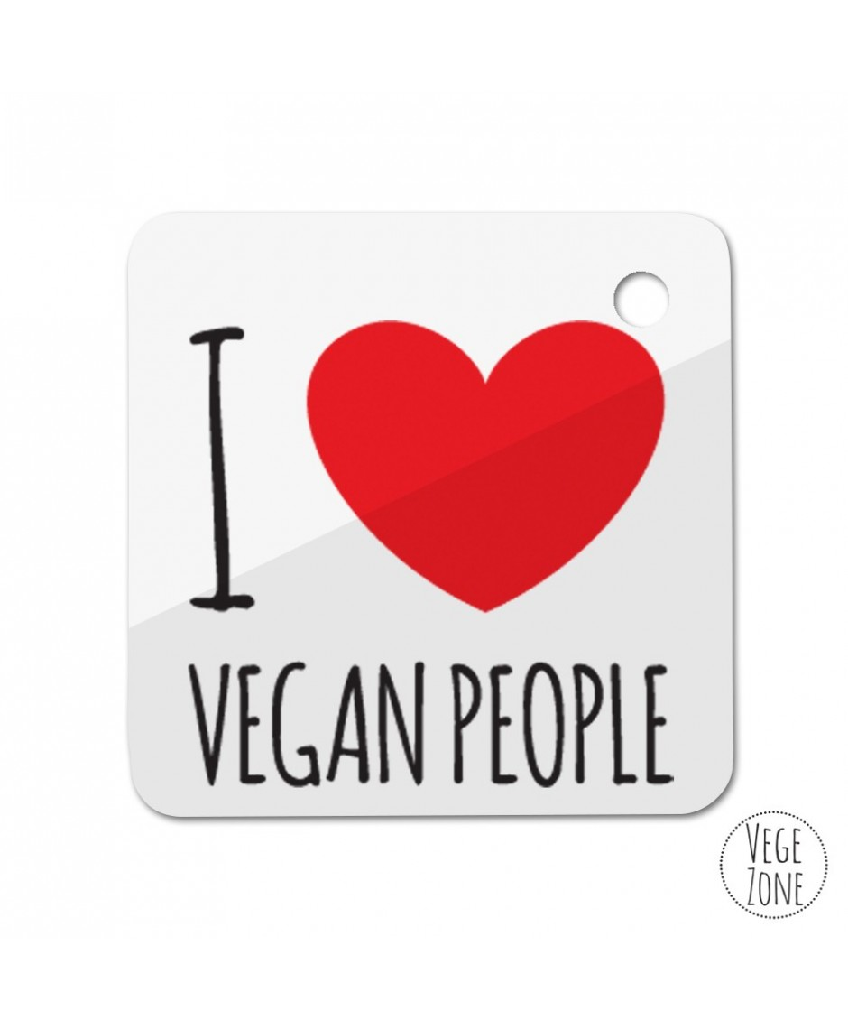 Brelok kwadrat  - I love vegan people