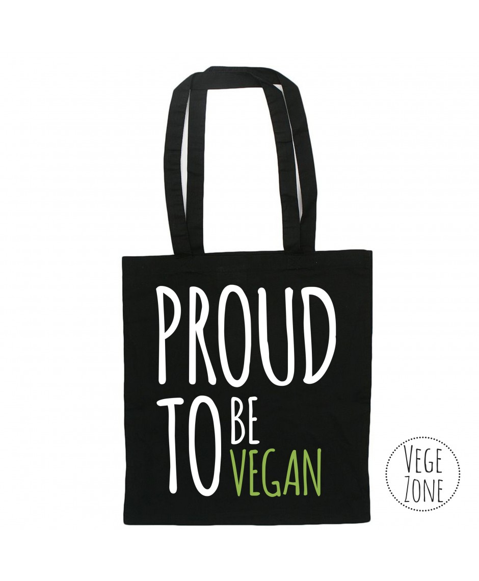 PROUD TO BE VEGAN - black tote bag