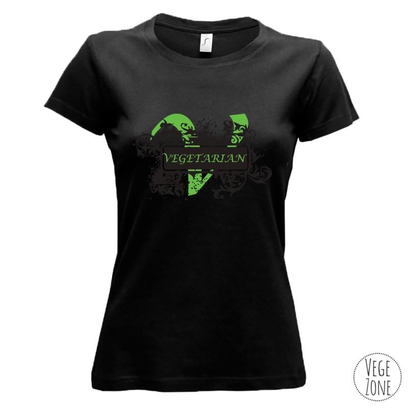 Koszulka czarna - Vegetarian ornament (damska)