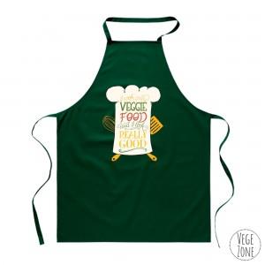 Fartuch zielony - I cook only veggie food (napis żółty)