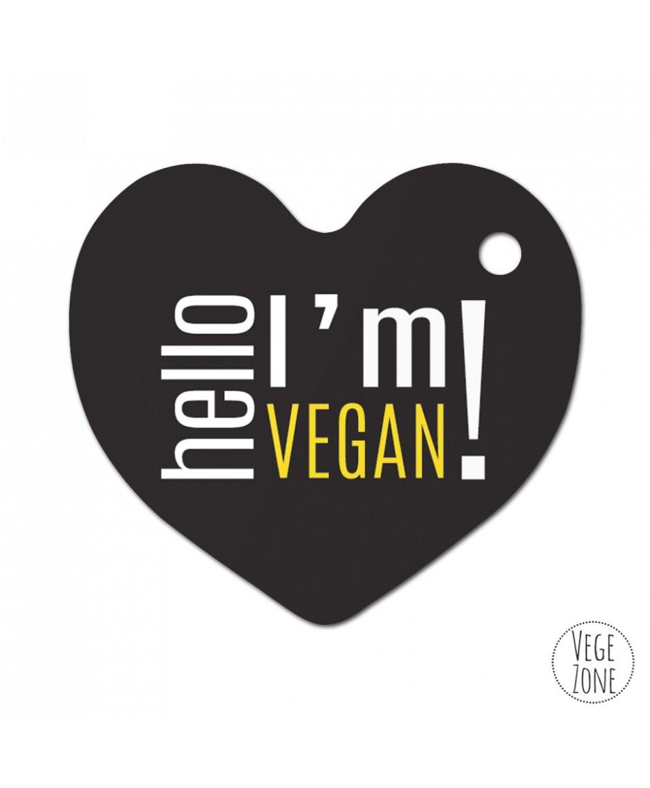 Brelok Hello I'm vegan - czarny (serce)