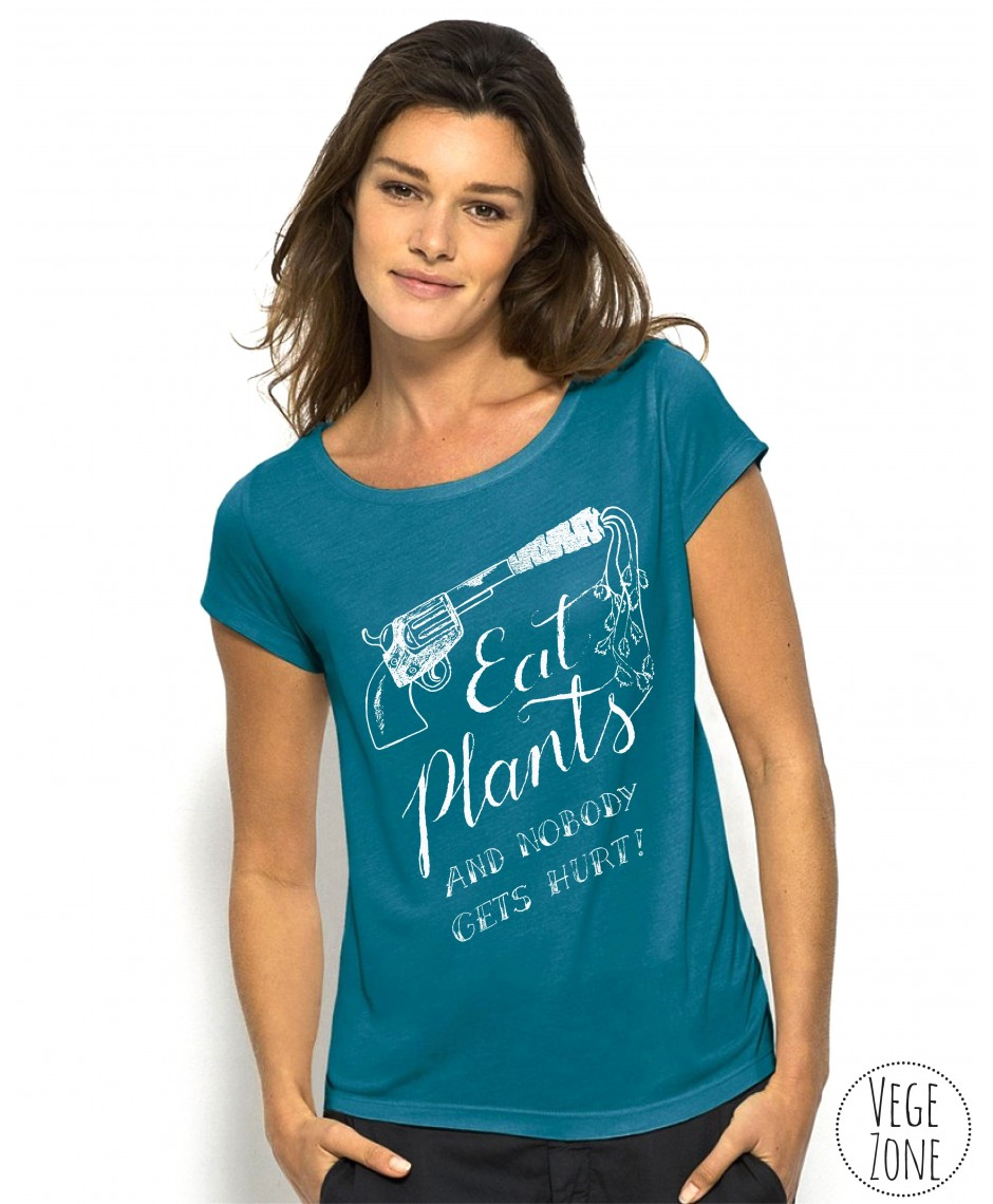 Koszulka damska Eat Plants - kolor morski