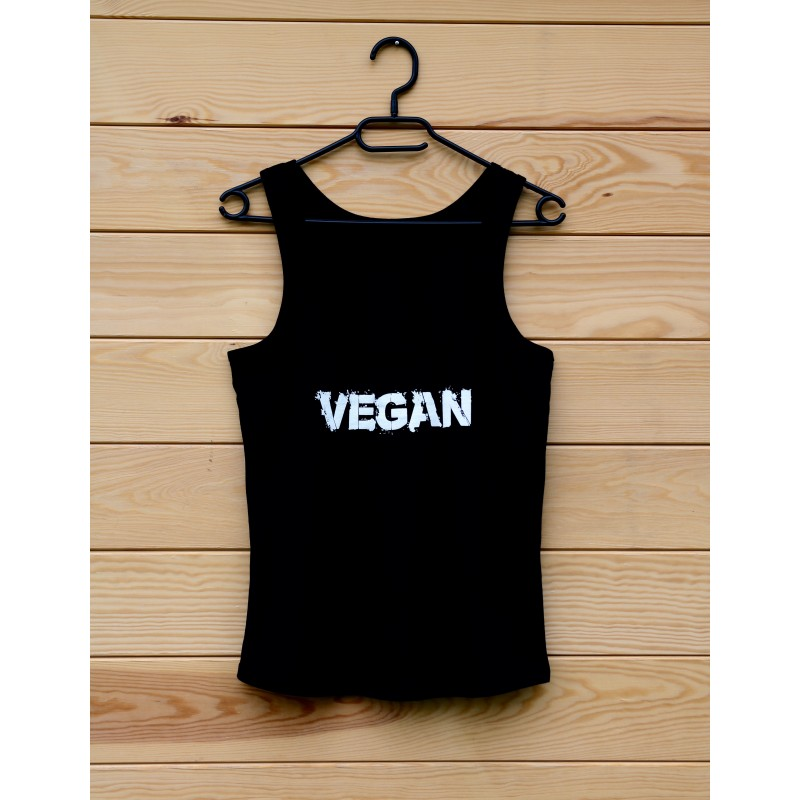 Damska koszulka organiczna VEGAN - kolor czarny
