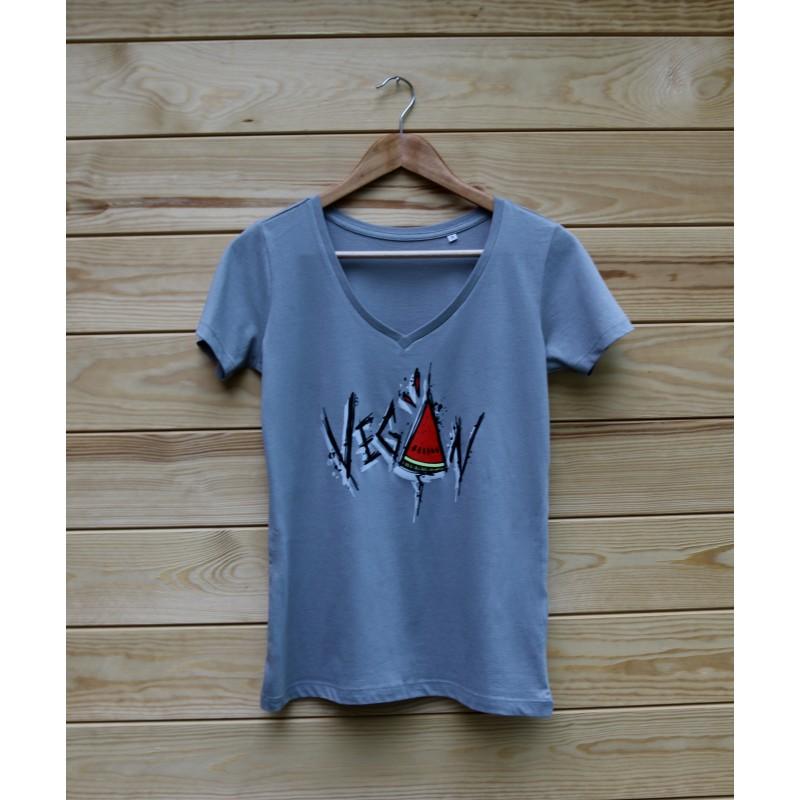 Damski t-shirt Organic VEGAN ARBUZ kolor szary