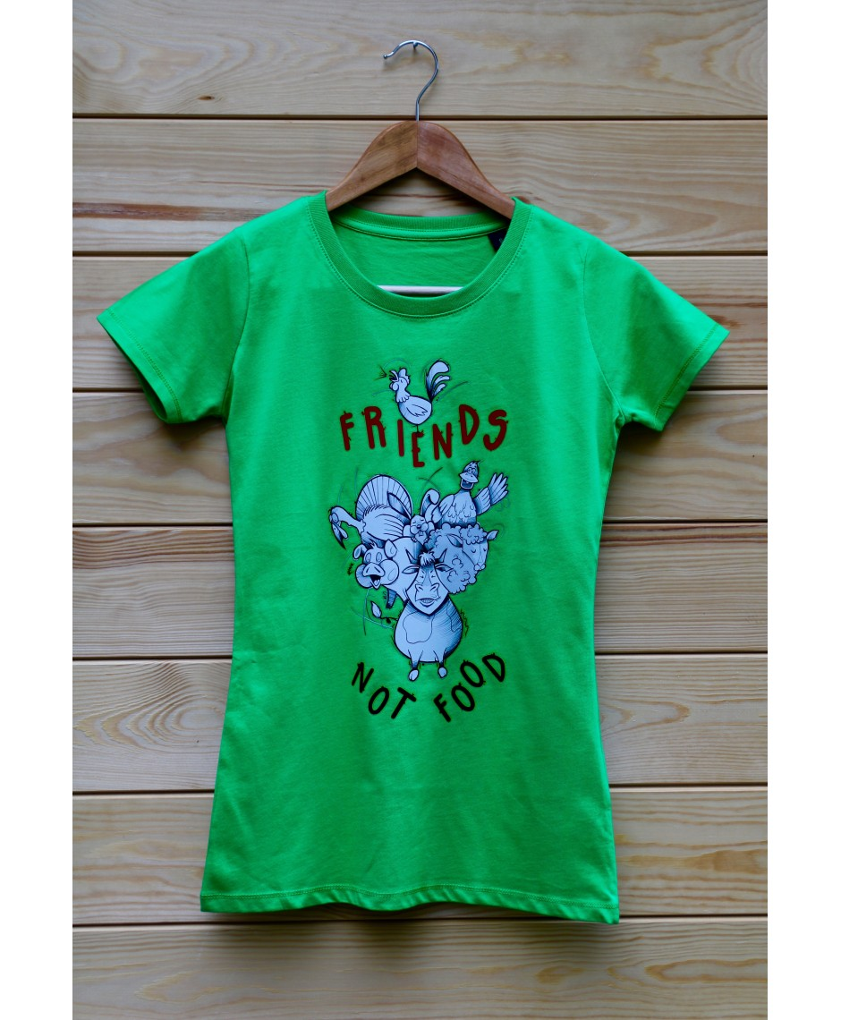 Damski t-shirt Organic Friends not Food kolor zielony