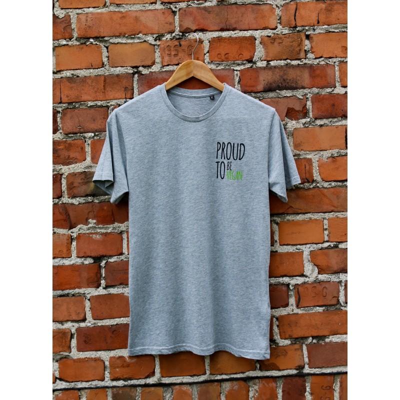 Męski t-shirt Organic PROUD TO BE VEGAN kolor szary melanż