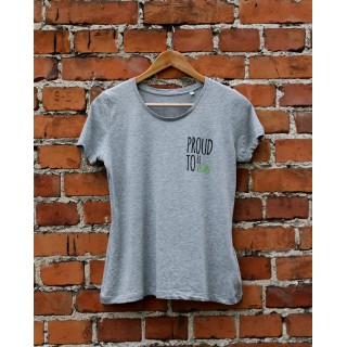 Damski t-shirt Organic PROUD TO BE VEGAN kolor szary melanż