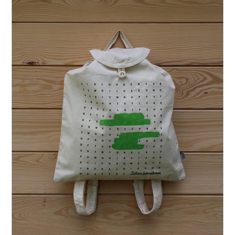 Plecak z bawełny organicznej - LOVE ANIMALS DON'T EAT THEM