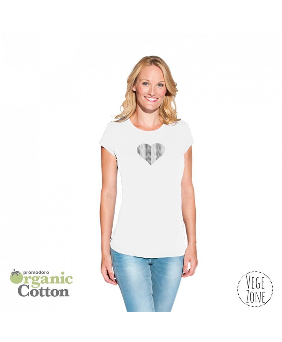 Koszulka damska biała - Vegan Heart - Organic -T Fashion Promodoro