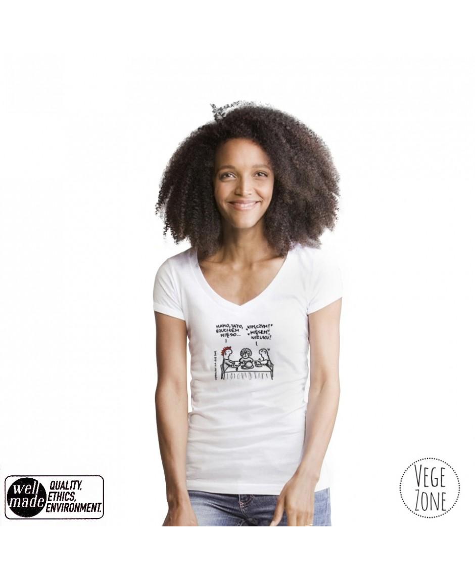 SZKIC - Koszulka damska biała, dekolt w szpic - V-neck - - Mantis
