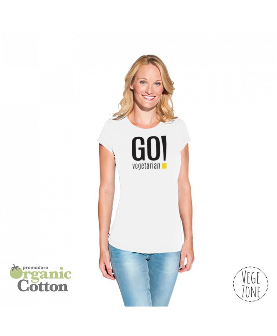 Koszulka damska biała - Go Vegetarian! - Organic -T Fashion - Promodoro