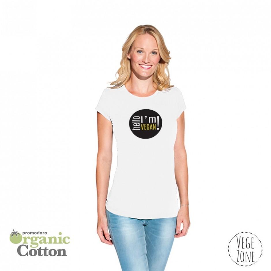 Koszulka damska biała - Hello, I'm vegan! - Organic -T Fashion - Promodoro