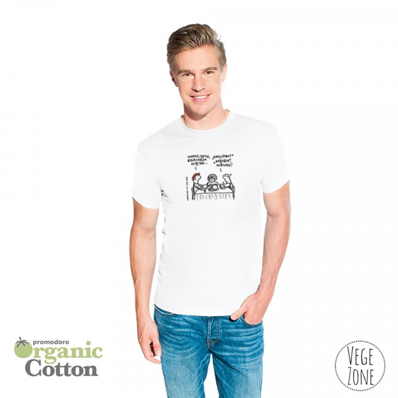 Koszulka męska biała - Mamo, Tato - Organic -T Fashion - Promodoro