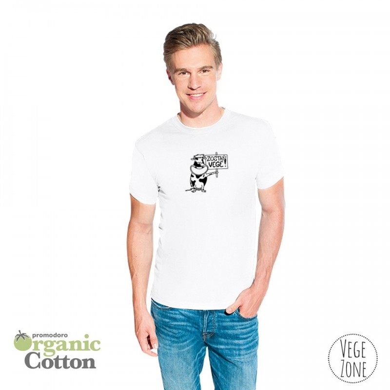 Koszulka męska biała - Zostań WEGE! - Organic -T Fashion - Promodoro