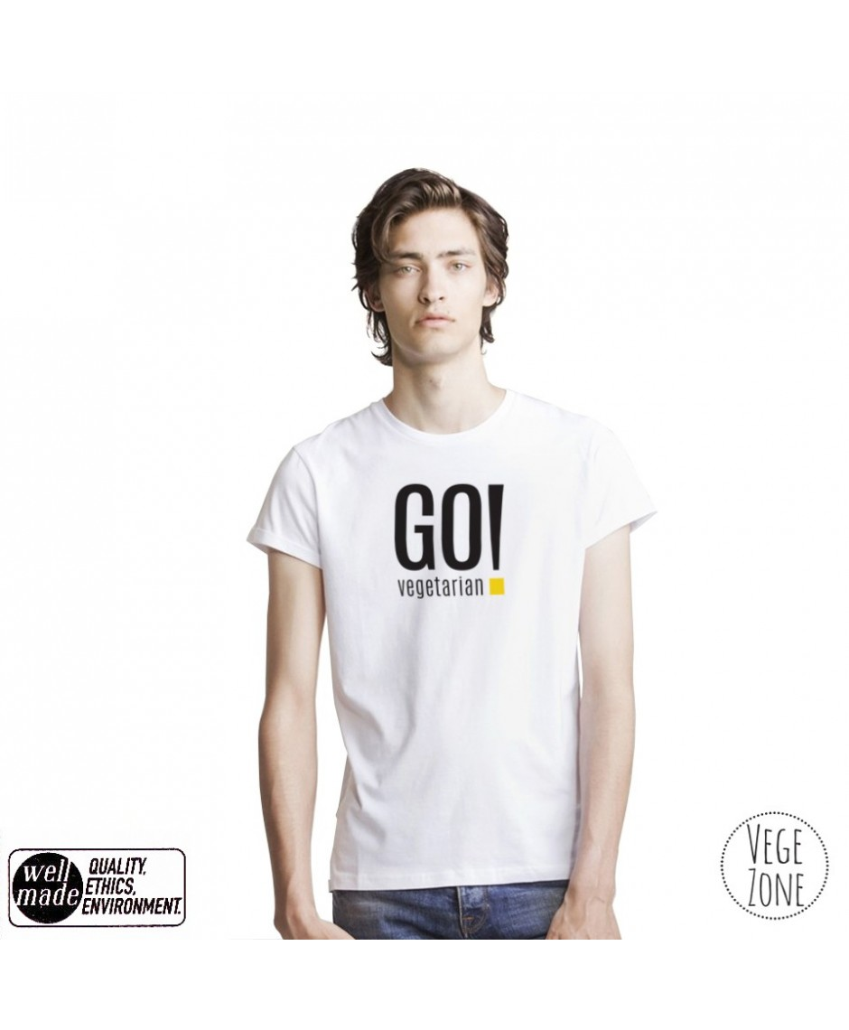 Koszulka męska organiczna biała, rolowane rękawy - GO vegetarian! - Roll Sleeve T - - Mantis