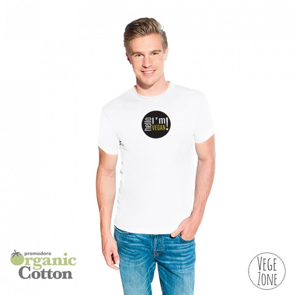 Koszulka męska biała - Hello, I'm Vegan! - Organic -T Fashion - Promodoro