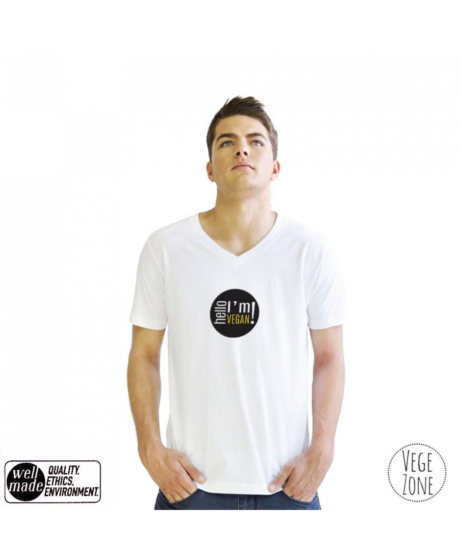Koszulka męska biała, dekolt w szpic - Hello, I'm Vegan! - V-neck - Mantis