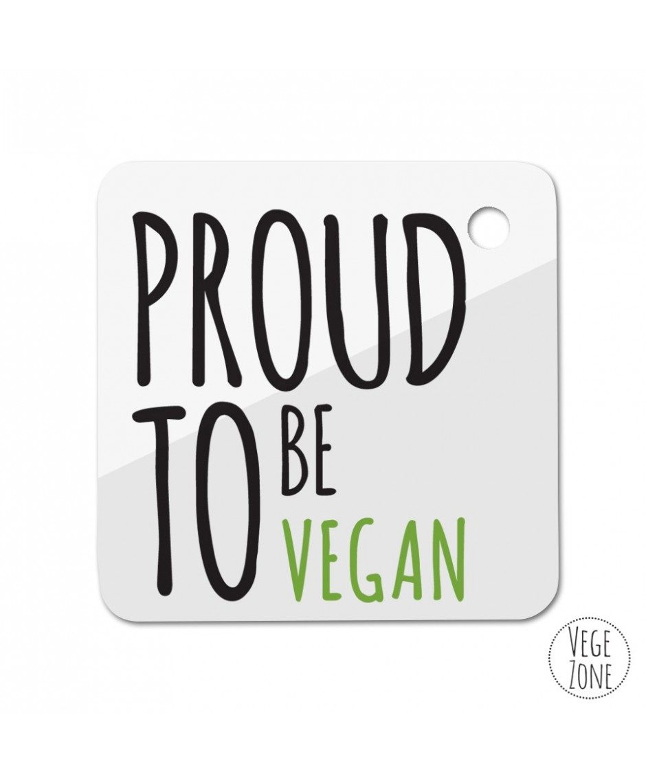 Brelok kwadrat - Proud to be vegan