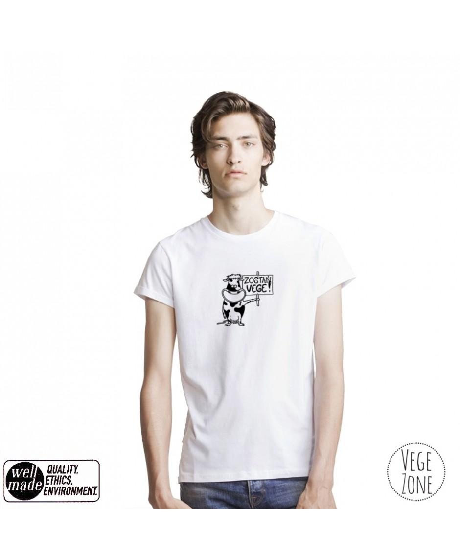 Koszulka męska organiczna biała, rolowane rękawy - Zostań VEGE! - Roll Sleeve T - Mantis